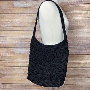 Lina Black Macrame/ Crochet Hobo Bag